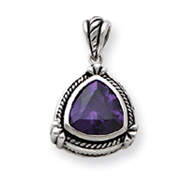 Sterling Silver Purple CZ Pendant