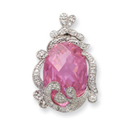 Sterling Silver Pink And Clear CZ Pendant Slide