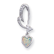 Sterling Silver Opal And CZ Heart Pendant