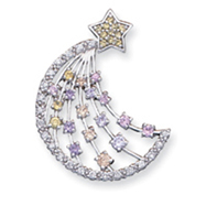 Sterling Silver Multi-Color CZ Moon And Star Slide