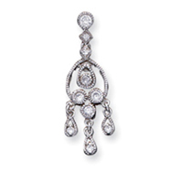 Sterling Silver CZ Chandelier Style Pendant