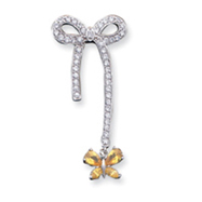 Sterling Silver Yellow & Clear CZ Pendant