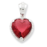 Sterling Silver Heart Red CZ Pendant