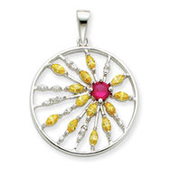 Sterling Silver Red & Yellow CZ Circle Pendant