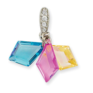 Sterling Silver 3-Color CZ Pendant Set