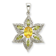 Sterling Silver Green, Yellow & Clear CZ Pendant
