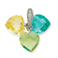Sterling Silver 3-Color CZ Heart Pendant Set