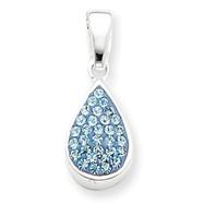 Sterling Silver Blue CZ Teardrop Pendant