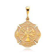 14K Yellow Gold Fire Rescue Medal Charm