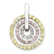 Sterling Silver Yellow & Pink CZ Pendant