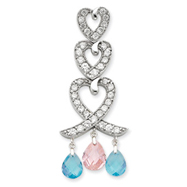 Sterling Silver Blue & Pink CZ Heart Slide