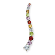 Sterling Silver Multicolor Gemstone Journey Style Pendant