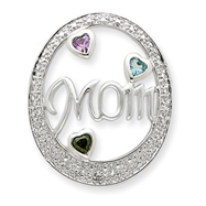 Sterling Silver Multi-Colored CZ Mom Slide