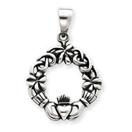 Sterling Silver Antiqued Claddagh Pendant