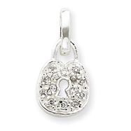 Sterling Silver CZ Lock Pendant