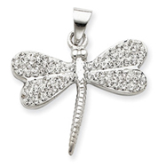 Sterling Silver With  Swarovski Crystal Dragonfly Charm