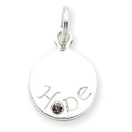 Sterling Silver Hope With Pink CZ Disc Charm