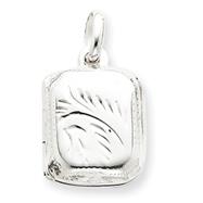 Sterling Silver Diamond-Cut Rectangular Locket