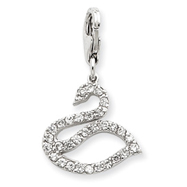 Sterling Silver CZ Swan Charm