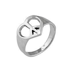 Sterling Silver Peace Heart Ring