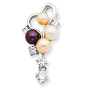 Sterling Silver CZ Simulated Pearl Heart Dangle Slide