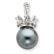 Sterling Silver Grey Synthetic Pearl & CZ Crown Pendant