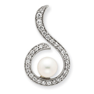 Sterling Silver Simulated Pearl And CZ Pendant