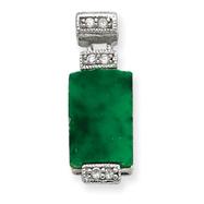 Sterling Silver CZ & Green Stone Pendant