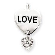 Sterling Silver Love CZ Heart Pendant