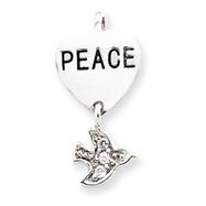 Sterling Silver Peace CZ Heart & Dove Pendant