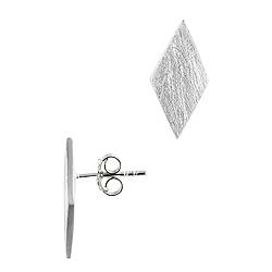Sterling Silver Scratch Finish Diamond Shaped Stud Earrings