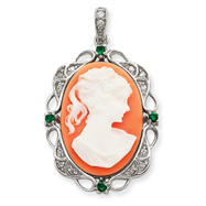 Sterling Silver Clear & Green CZ Cameo Pendant