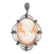 Sterling Silver Marcasite Cameo Pendant