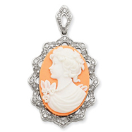 Sterling Silver CZ Cameo Pendant