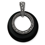 Sterling Silver Onyx & Marcasite Circle Slide