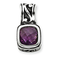 Sterling Silver Antiqued Amethyst Pendant