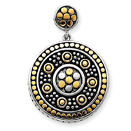 Sterling Silver Vermiel And Antiqued Pendant
