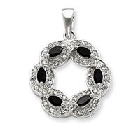 Sterling Silver Onyx & CZ Pendant