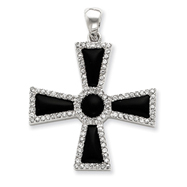 Sterling Silver CZ & Onyx Cross Pendant