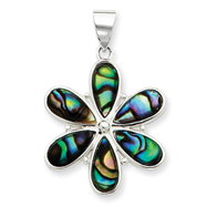 Sterling Silver Flower Abalone Pendant