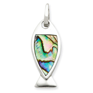 Sterling Silver Abalone Fish Pendant