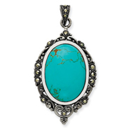 Sterling Silver Marcasite Turquoise Pendant