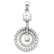 Sterling Silver CZ Chain Slide Pendant
