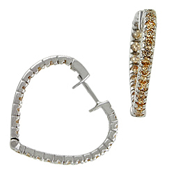 Sterling Silver Champagne Pave CZ Heart Hoop Earrings