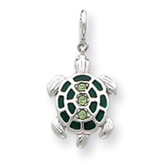 Sterling Silver Green Crystal And Enameled Turtlle