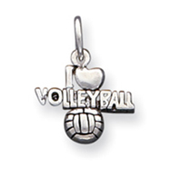 Sterling Silver Antique I Heart  Volleyball Charm