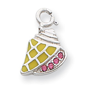 Sterling Silver Pink Crystals Yellow Enameled Shell