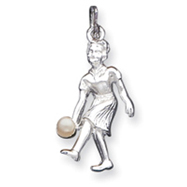 Sterling Silver Lady Bowler With Synthetic Pearl Charm