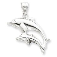 Sterling Silver Polished Dolphins Pendant