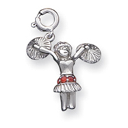 Sterling Silver Red Synthetic Stone Cheerleader Charm